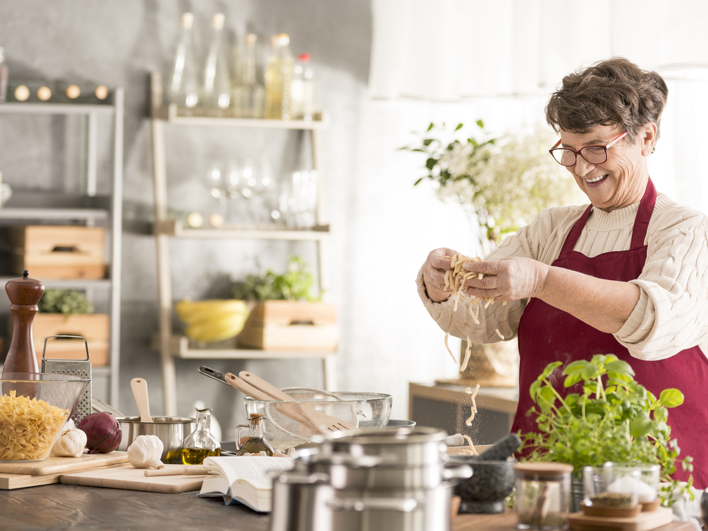 Woman preparing meal at home